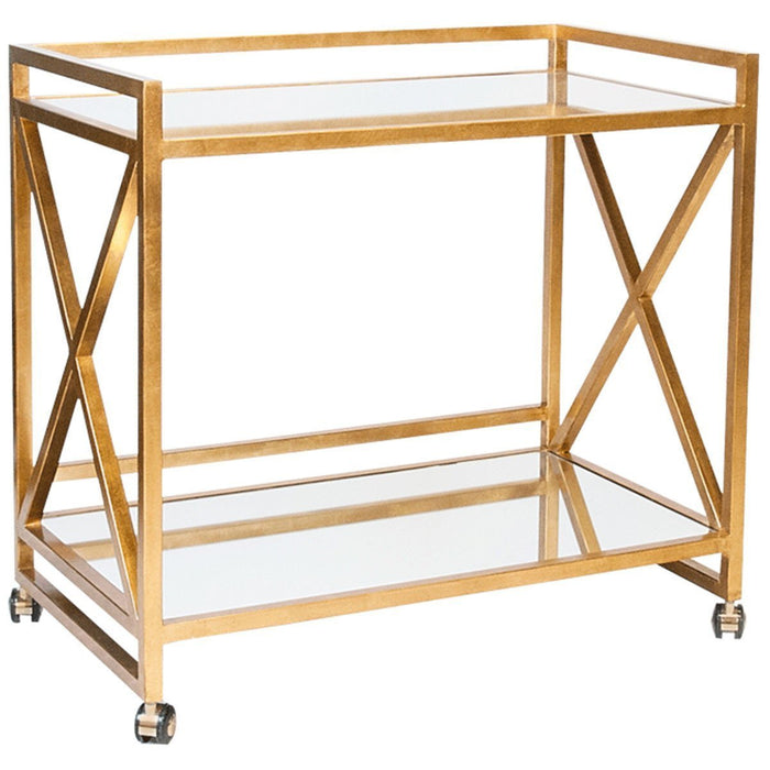 "Worlds Away ""X"" Bar Cart with Mirrored Tops GERARD G"