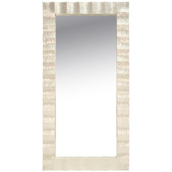 Worlds Away Rectangle Floor Mirror with Pearlized Capiz Scallop Frame