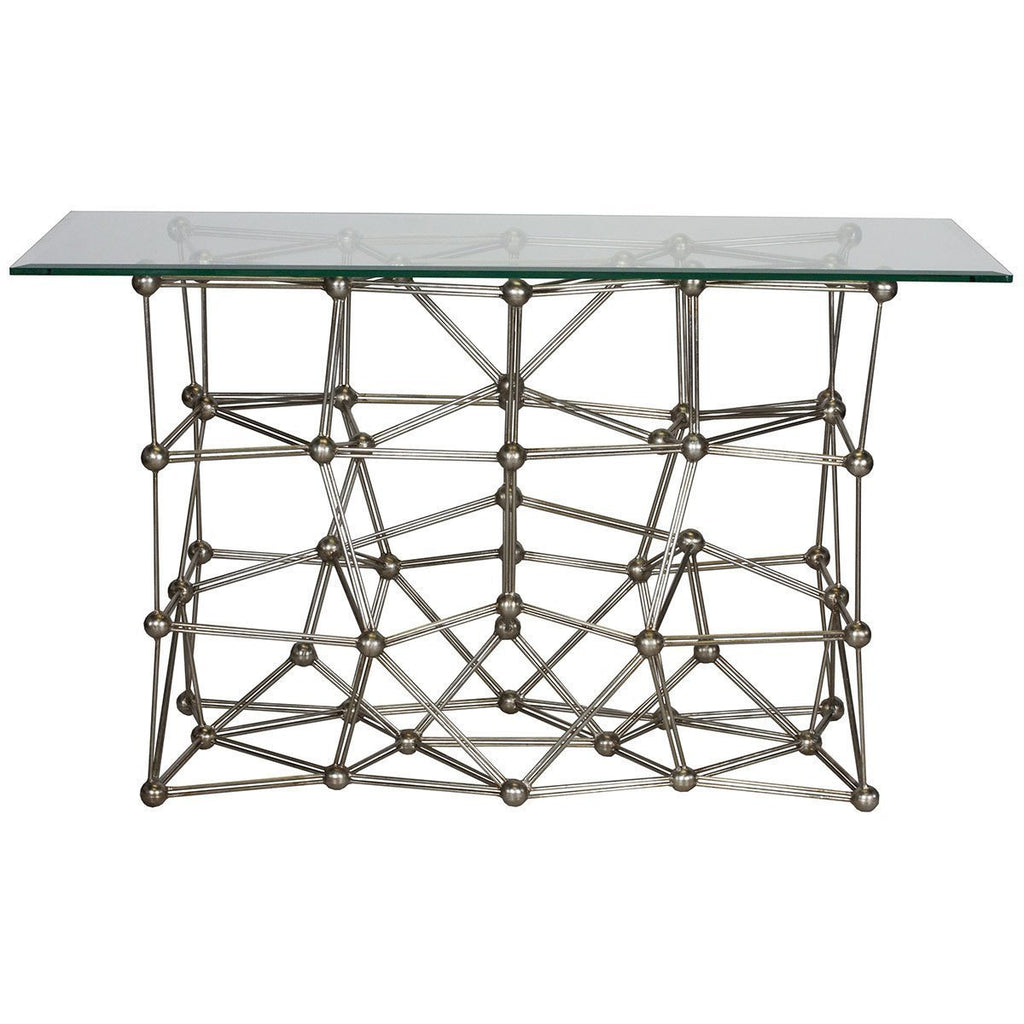 "Worlds Away Console Table with 22"" x 54"" Glass Top MOLECULE CONG54"