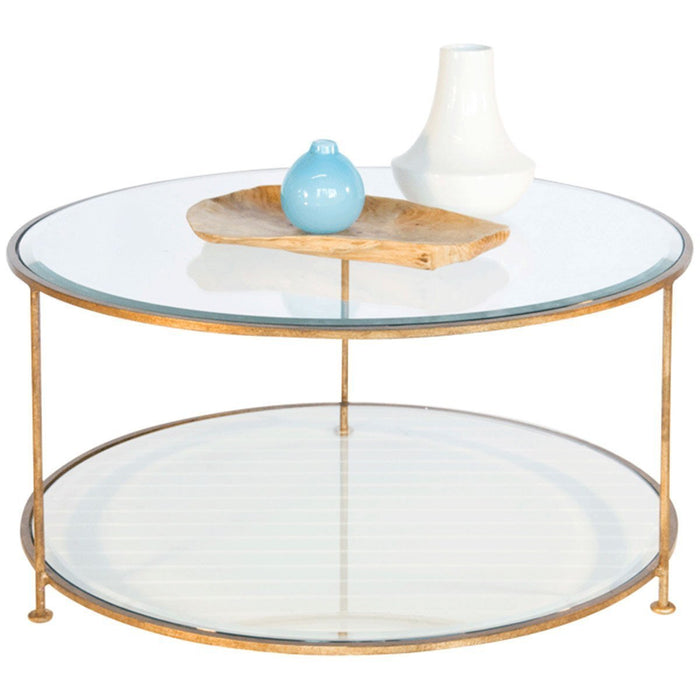 Worlds Away Iron Round Coffee Table with Beveled Glass Top ROLLO G