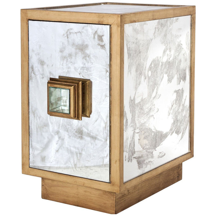 Worlds Away Antique Mirror and One Door Side Table Cabinet SAVANNAH G