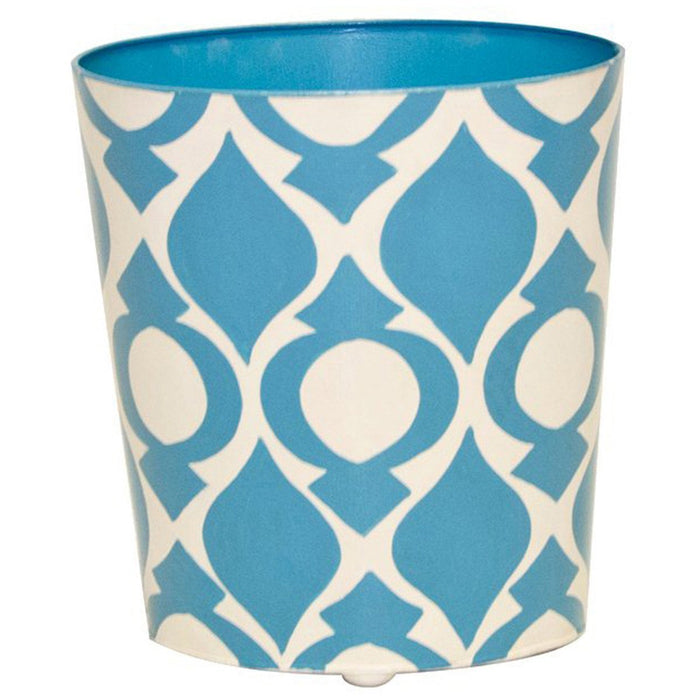Worlds Away Oval Wastebasket Blue and Cream