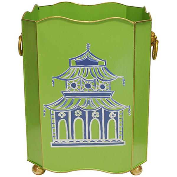 Worlds Away Square Wastebasket with Lion Handles in Green Pagoda