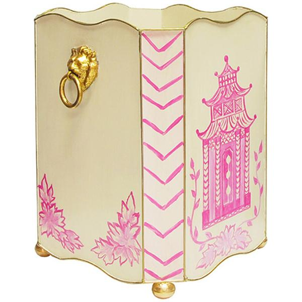 Worlds Away Square Wastebasket with Lion Handles in Pink Pagoda