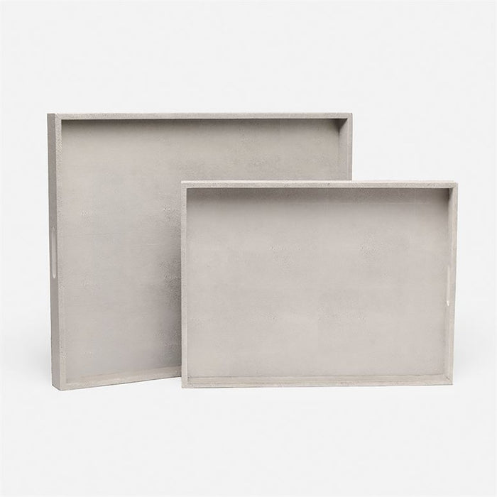 Made Goods Emery XL Rectangular Vintage Faux Shagreen Tray, 2-Piece Set