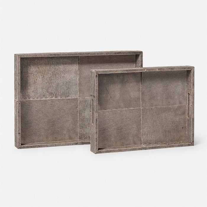 Made Goods Fenmore Hair-On-Hide Tray, 2-Piece Set