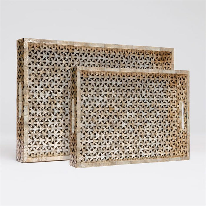 Made Goods Killian Modern Geometric Capiz Tray, 2-Piece Set