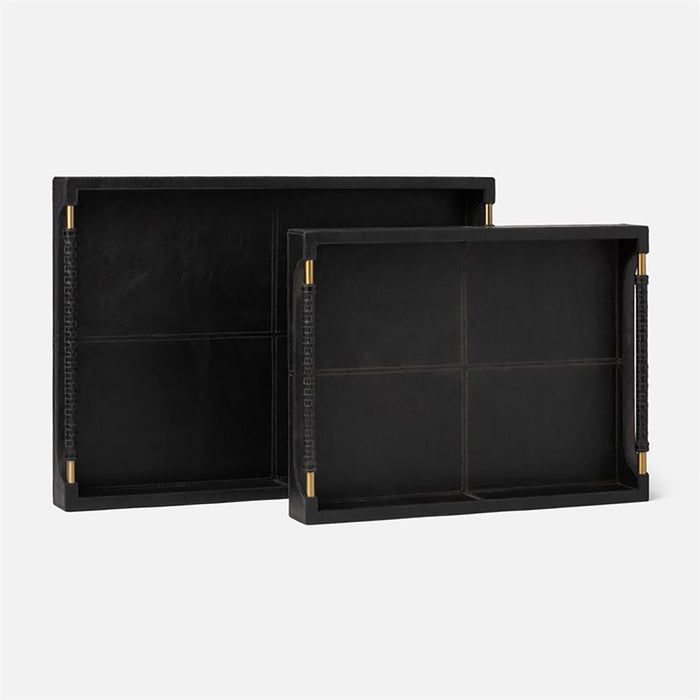 Made Goods Lenora Formal Leather Tray, 2-Piece Set