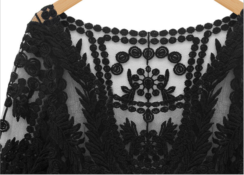 Black Long Sleeve Hollow Crochet Lace Blouse - The Style Syndrome