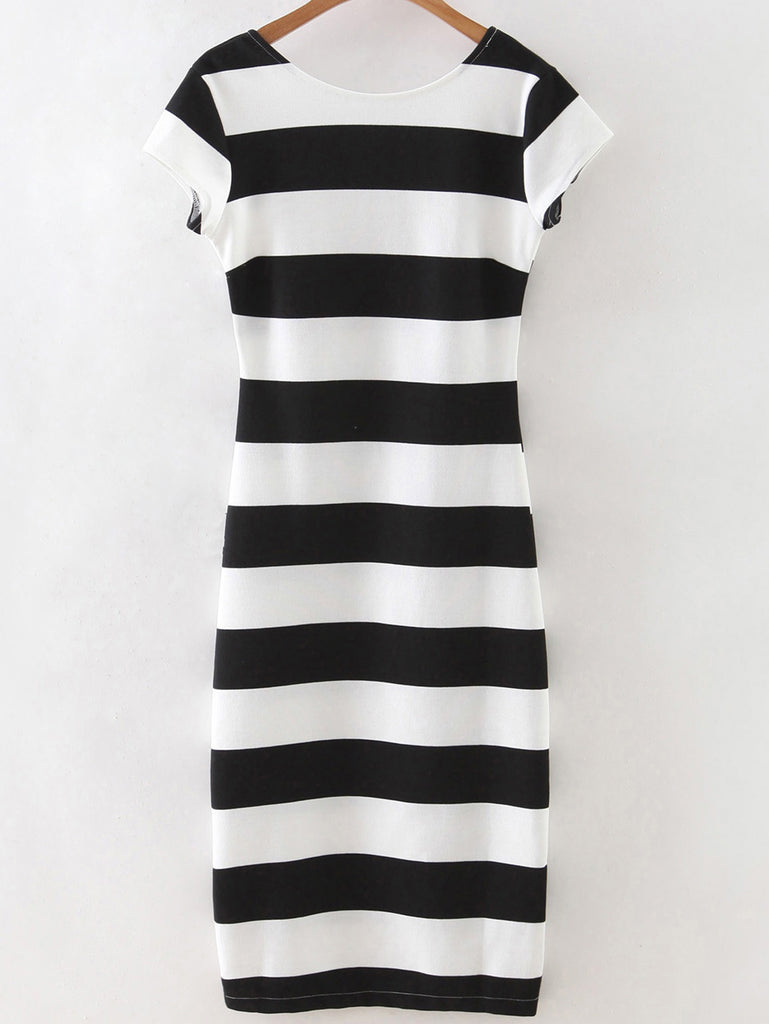 RZX Black White Striped Short Sleeve Backless Dress