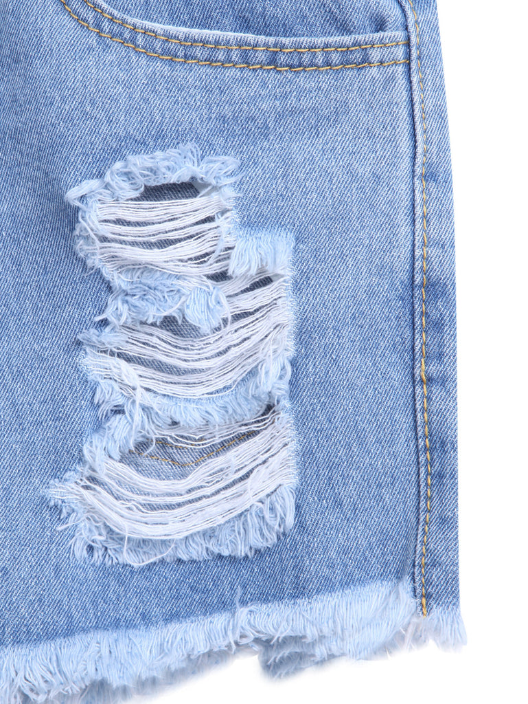 Blue Ripped Fringe Denim Shorts - The Style Syndrome