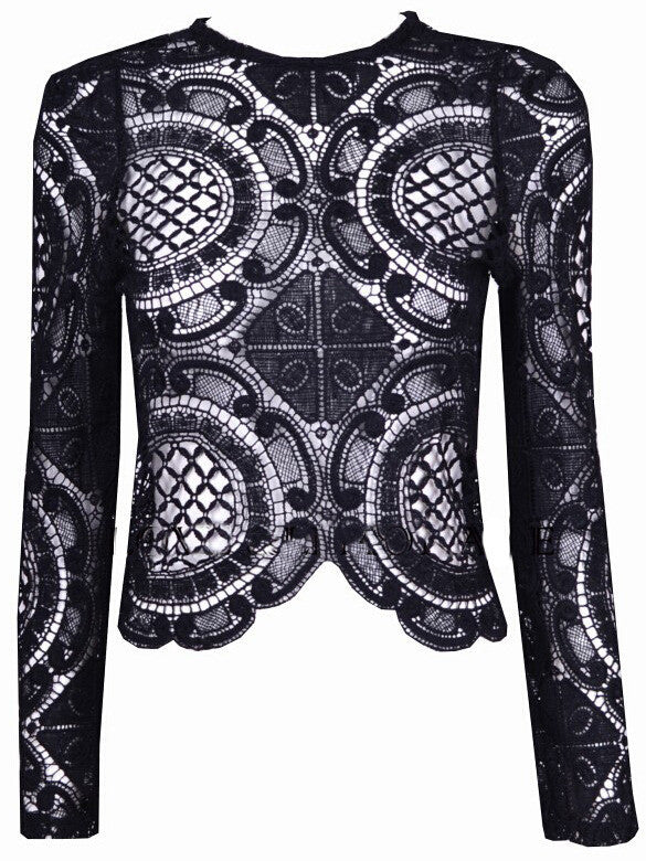 Black Long Sleeve Hollow With Zipper Lace Blouse - The Style Syndrome