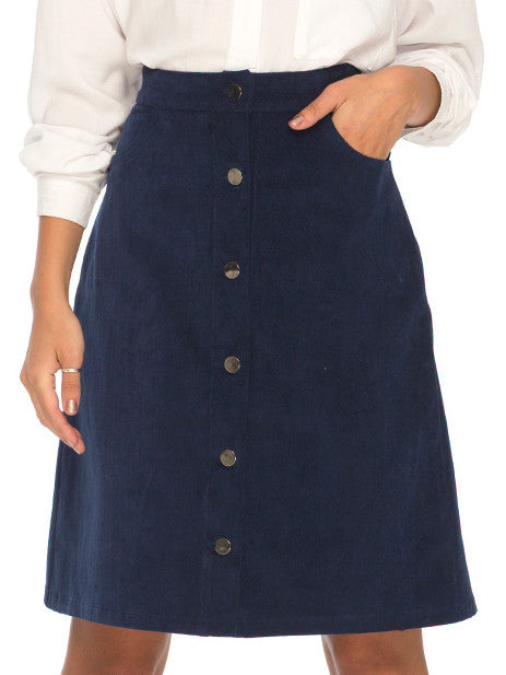 Navy Single Breasted Corduroy Skirt RZX - The Style Syndrome  - 1