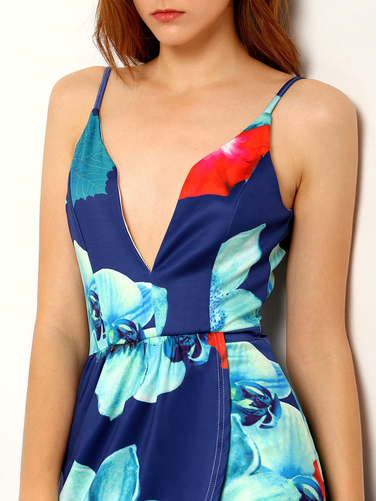 RZX Navy Spaghetti Strap Florals Asymmetrical Dress