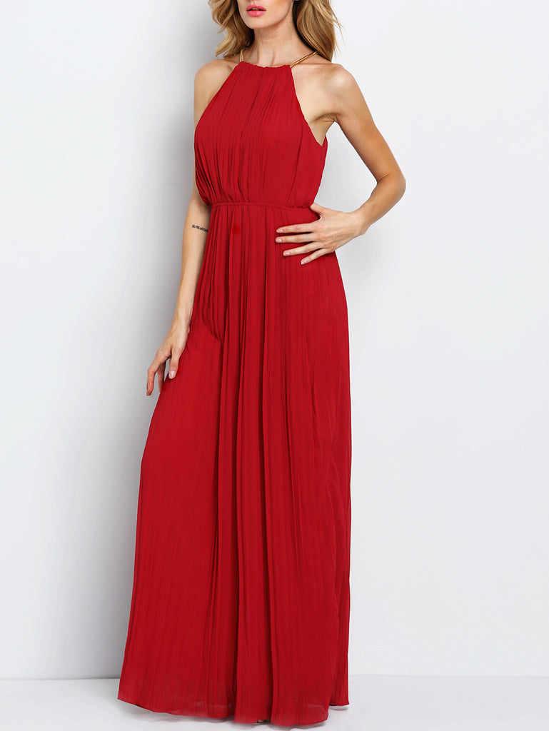 RZX Wine Red Evening Sleeveless Halterneck Pleated Infinity Maxi Dress
