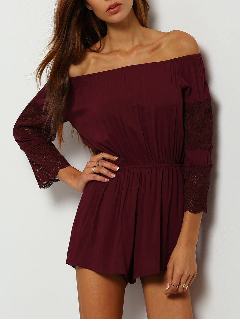 Burgundy Off The Shoulder Lace Embellished Jumpsuit - The Style Syndrome