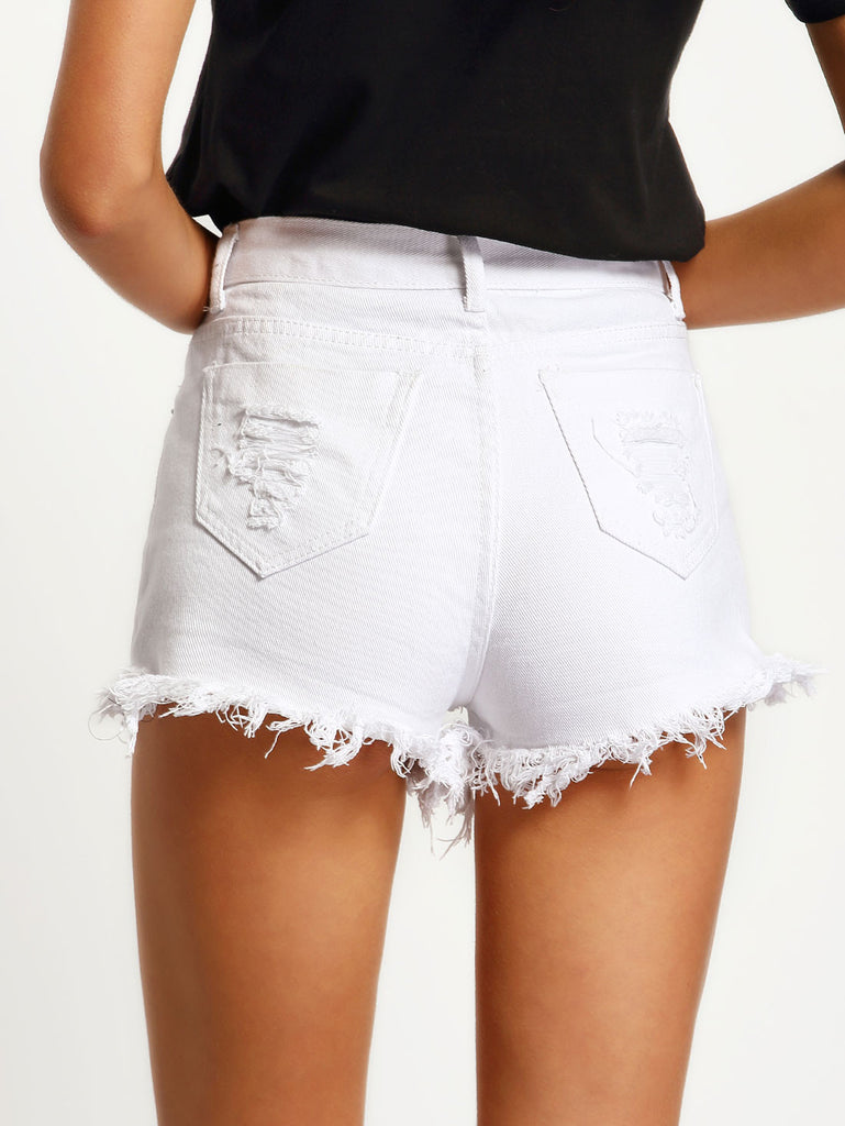White High Waist Ripped Denim Shorts - The Style Syndrome  - 2