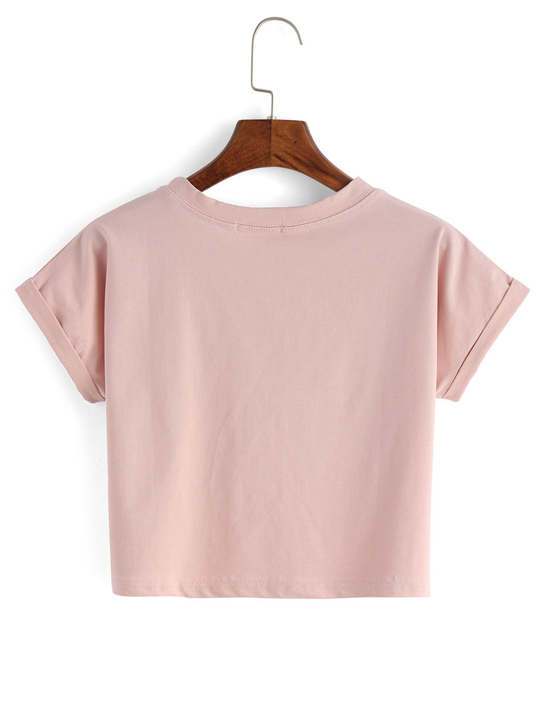 Pink Letters Print Cuffed Crop Top RZX - The Style Syndrome  - 2