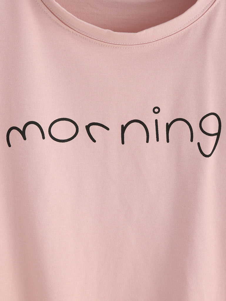 Pink Letters Print Cuffed Crop Top - The Style Syndrome  - 3