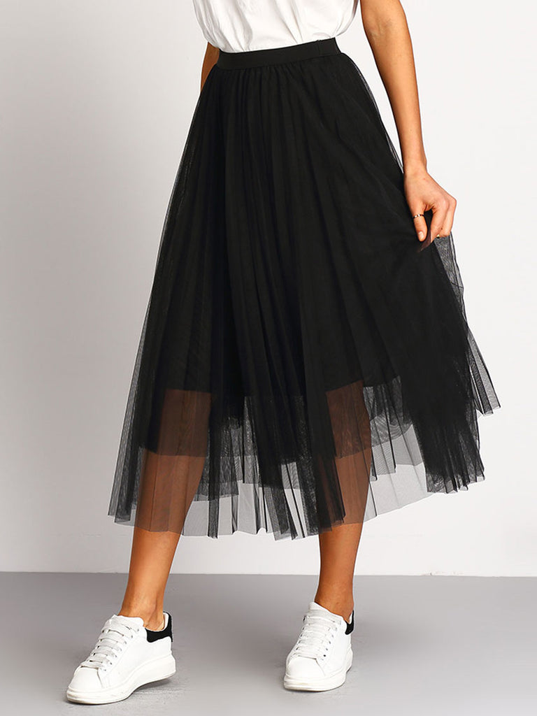 Black Mesh Pleated Elastic Waist Skirt - The Style Syndrome