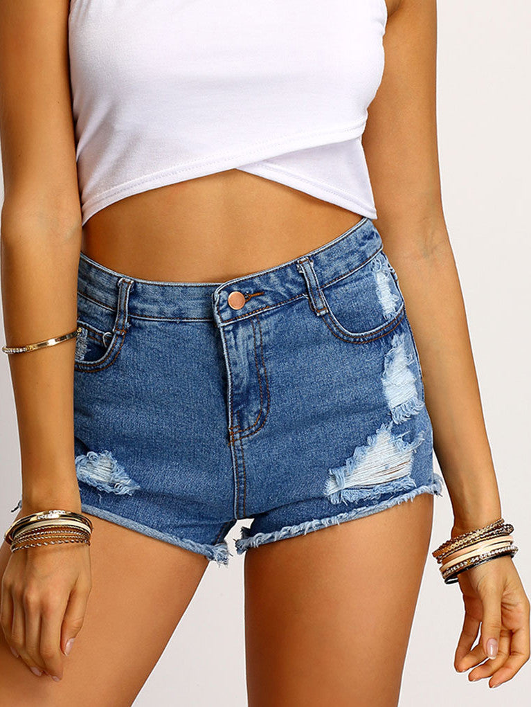 Blue Frayed Ripped Denim Shorts - The Style Syndrome