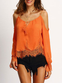Orange Cold Shoulder Bell Sleeve Lace Trim Blouse - The Style Syndrome  - 1