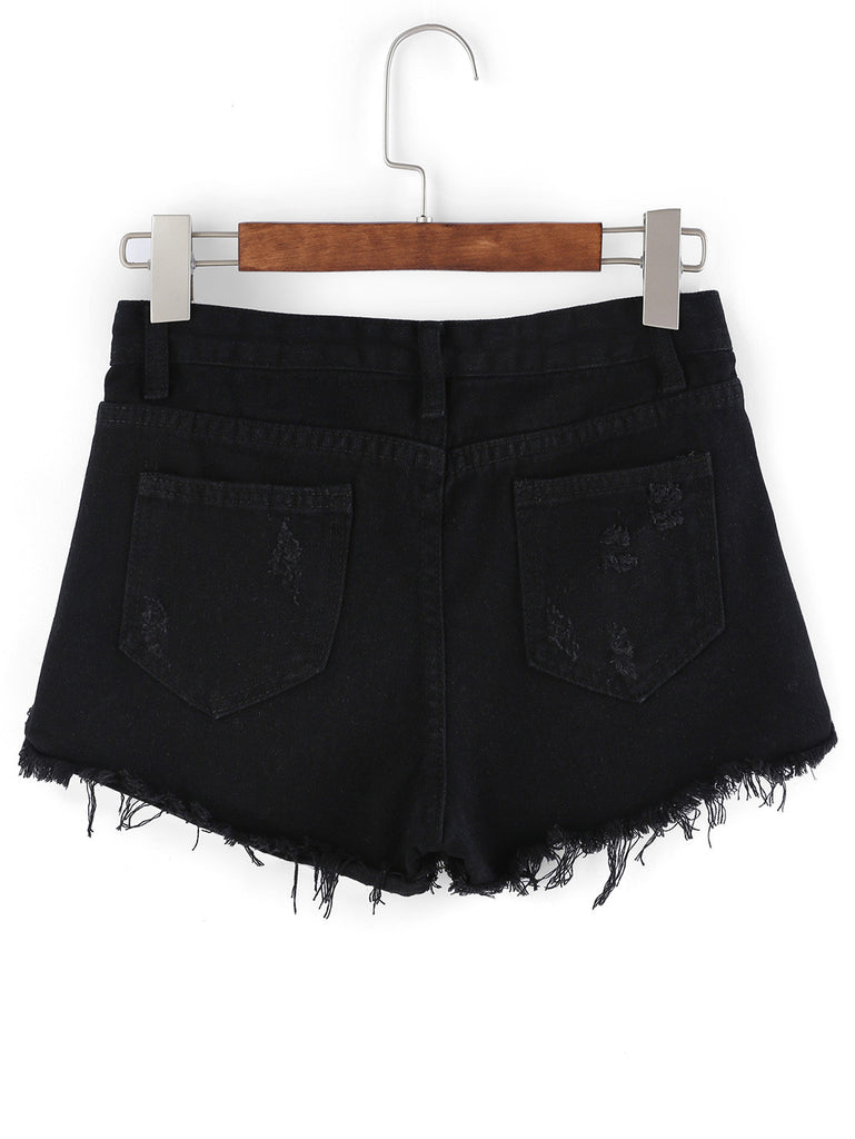 Frayed Black Denim Shorts - The Style Syndrome  - 3