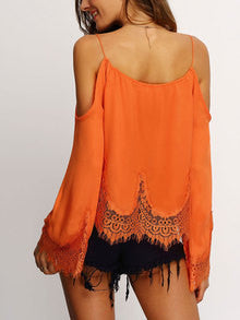Orange Cold Shoulder Bell Sleeve Lace Trim Blouse - The Style Syndrome  - 2