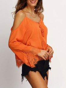 Orange Cold Shoulder Bell Sleeve Lace Trim Blouse - The Style Syndrome  - 3