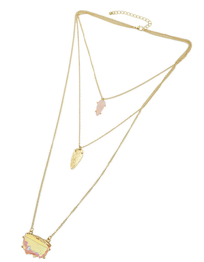 Pink Three Layers Pendant Necklace - The Style Syndrome  - 3