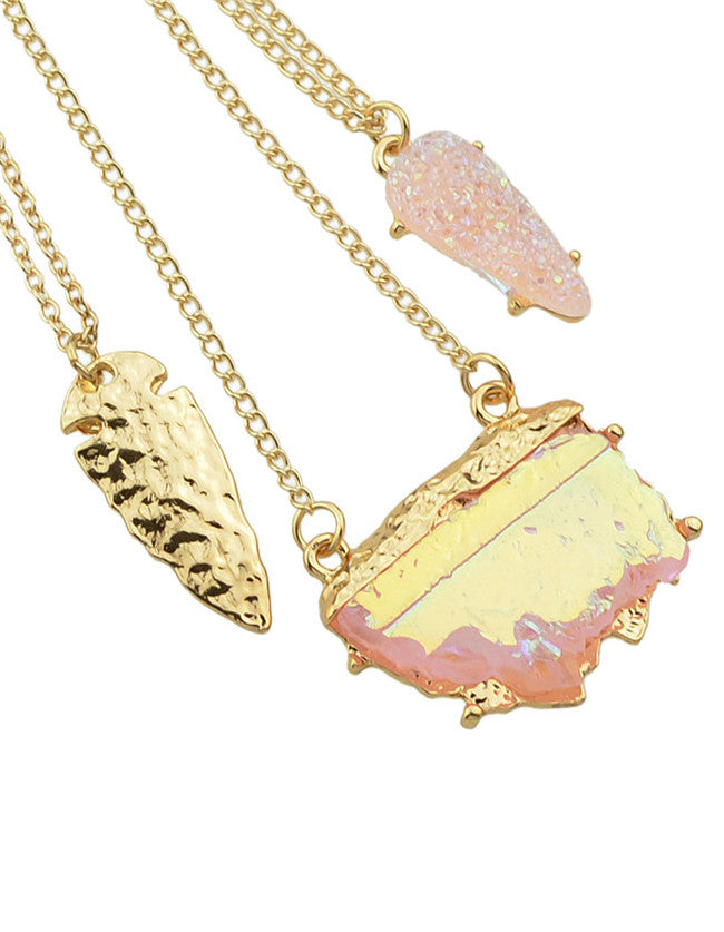 Pink Three Layers Pendant Necklace - The Style Syndrome  - 2