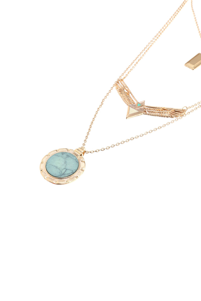 Gold Turquoise Hanging Cards And Wing Layered Pendant Necklace - The Style Syndrome  - 2