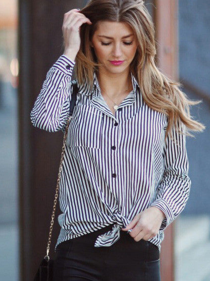 Black Lapel Vertical Striped Blouse - The Style Syndrome