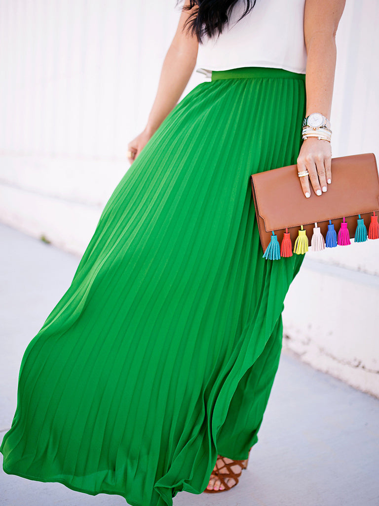 Green High Waist Pleated Maxi Skirt - The Style Syndrome  - 1