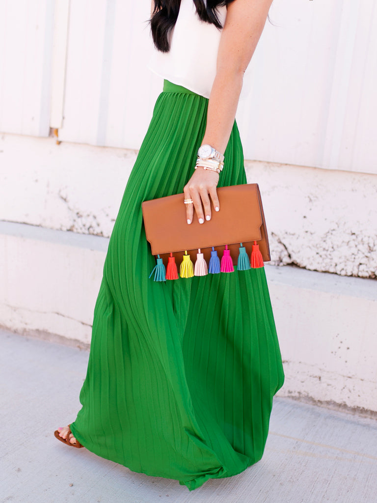 Green High Waist Pleated Maxi Skirt - The Style Syndrome  - 3