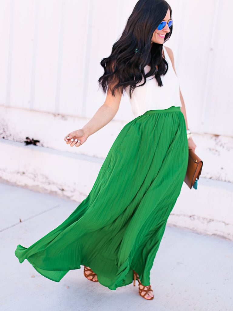 Green High Waist Pleated Maxi Skirt - The Style Syndrome  - 2