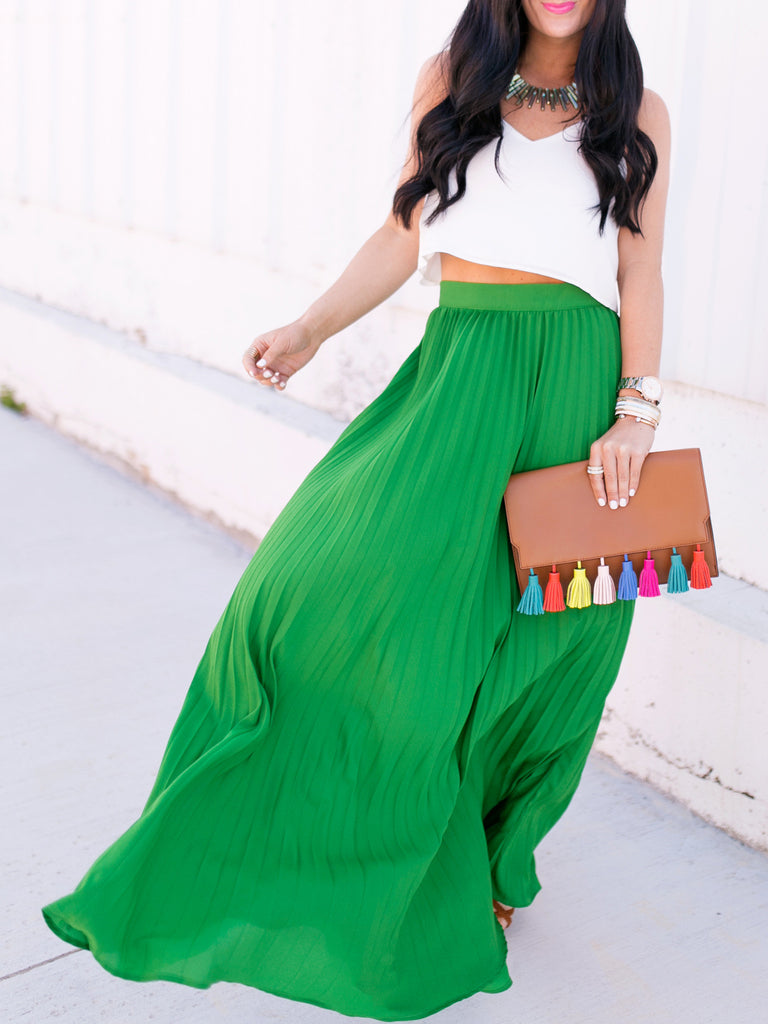 Green High Waist Pleated Maxi Skirt - The Style Syndrome  - 4