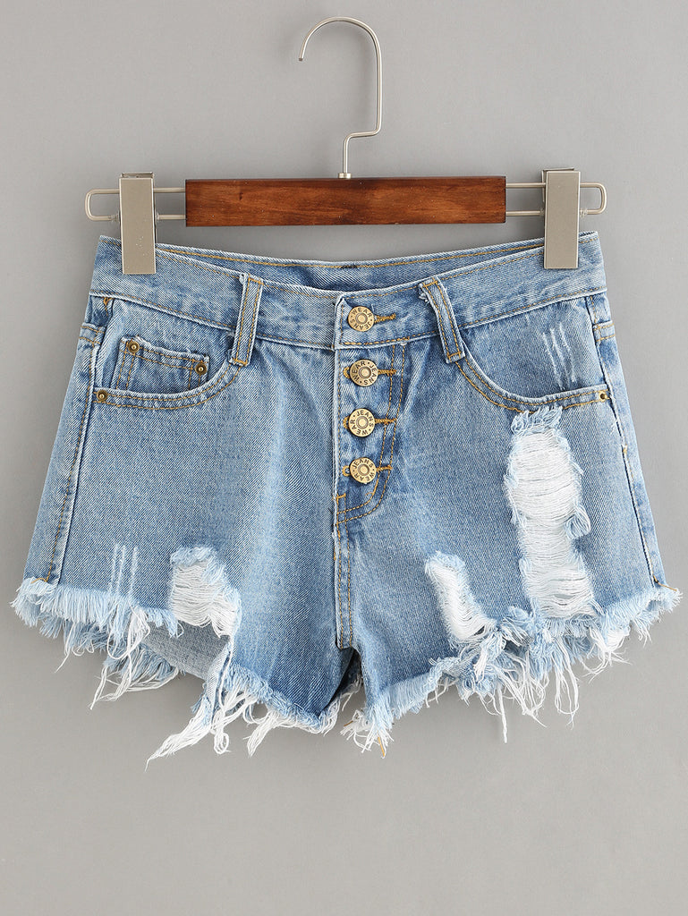 Button Fly Distressed Denim Shorts - The Style Syndrome  - 1