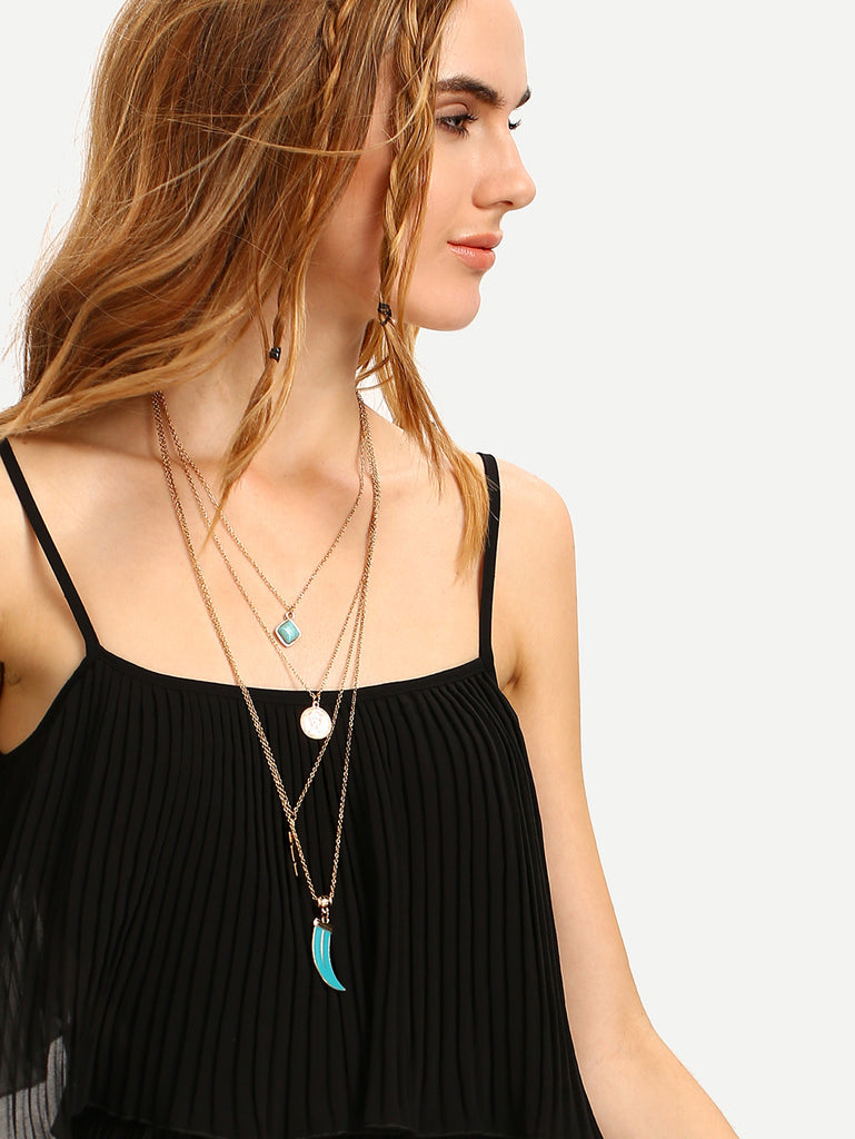 Layered Geometric-Shaped Turquoise Pendant Necklace - The Style Syndrome  - 2