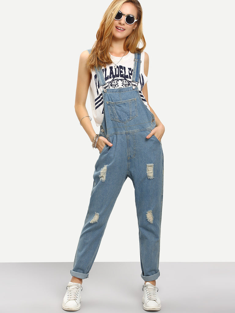 RZX Ripped Loose-Fit Denim Overall Jeans - The Style Syndrome  - 1