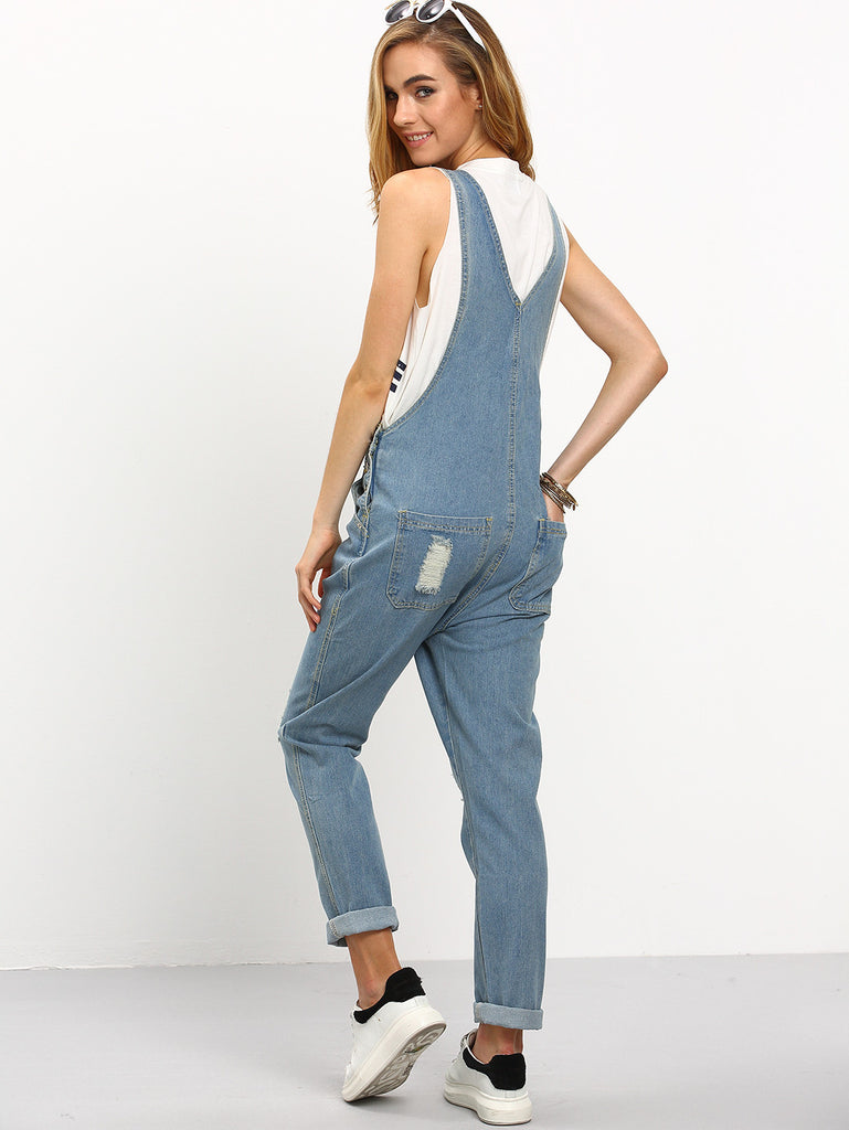 RZX Ripped Loose-Fit Denim Overall Jeans - The Style Syndrome  - 3