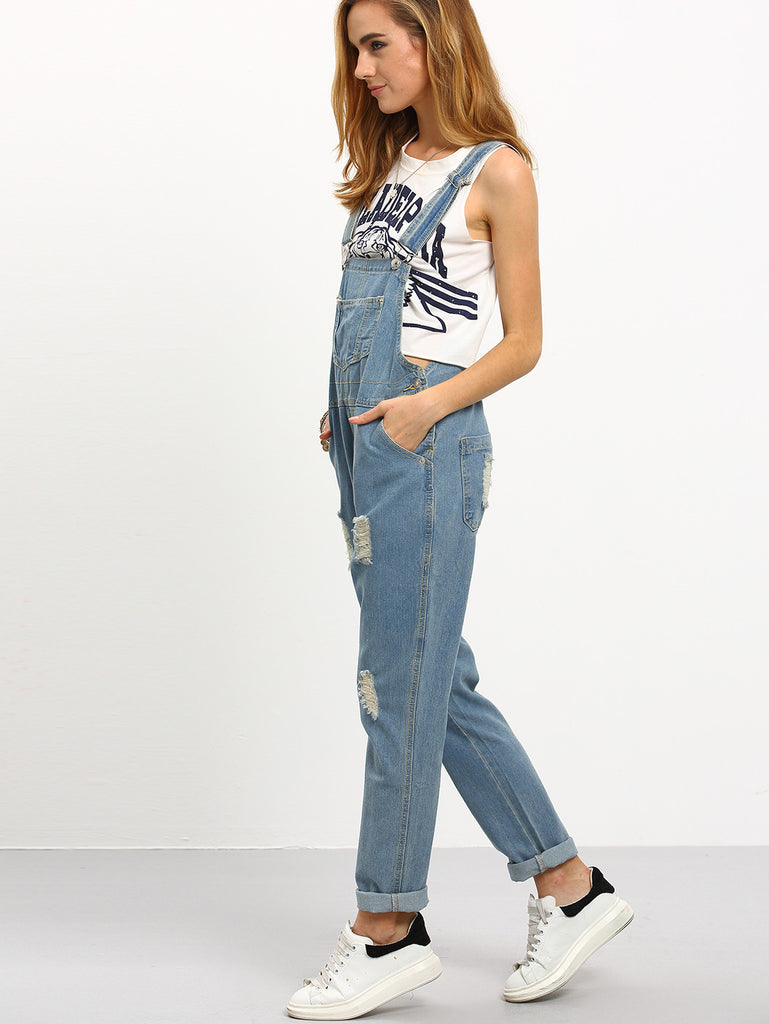RZX Ripped Loose-Fit Denim Overall Jeans - The Style Syndrome  - 4