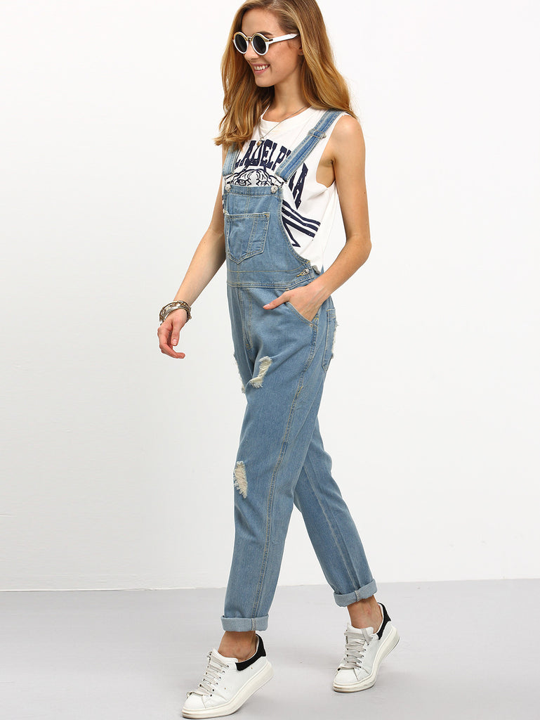 RZX Ripped Loose-Fit Denim Overall Jeans - The Style Syndrome  - 2