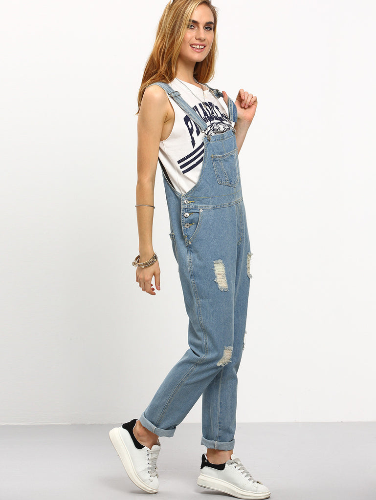 RZX Ripped Loose-Fit Denim Overall Jeans - The Style Syndrome  - 5