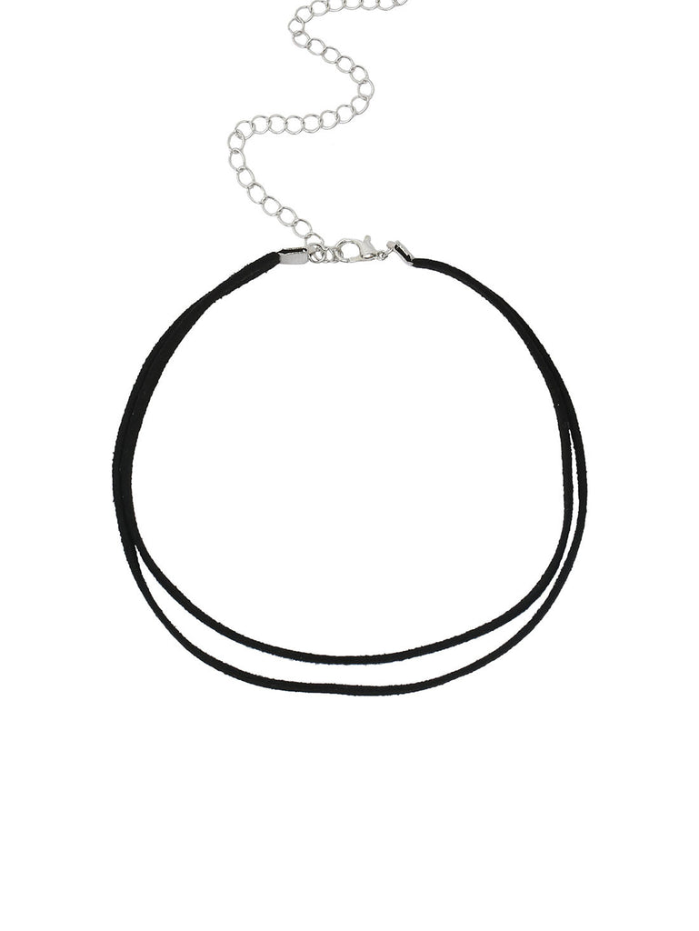 Black Faux Suede Double Layer Choker - The Style Syndrome