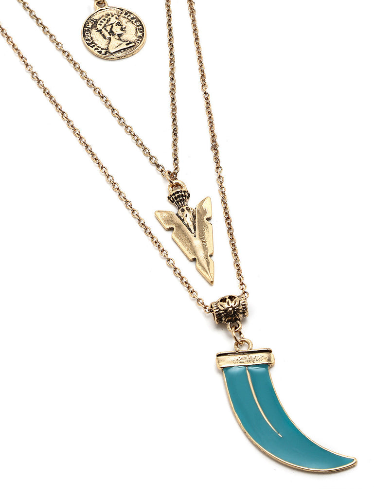 Layered Geometric-Shaped Turquoise Pendant Necklace - The Style Syndrome  - 4