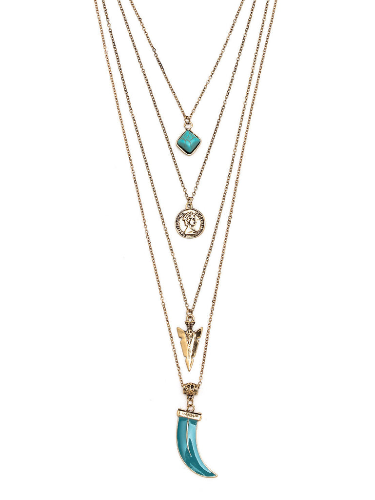 Layered Geometric-Shaped Turquoise Pendant Necklace - The Style Syndrome  - 3