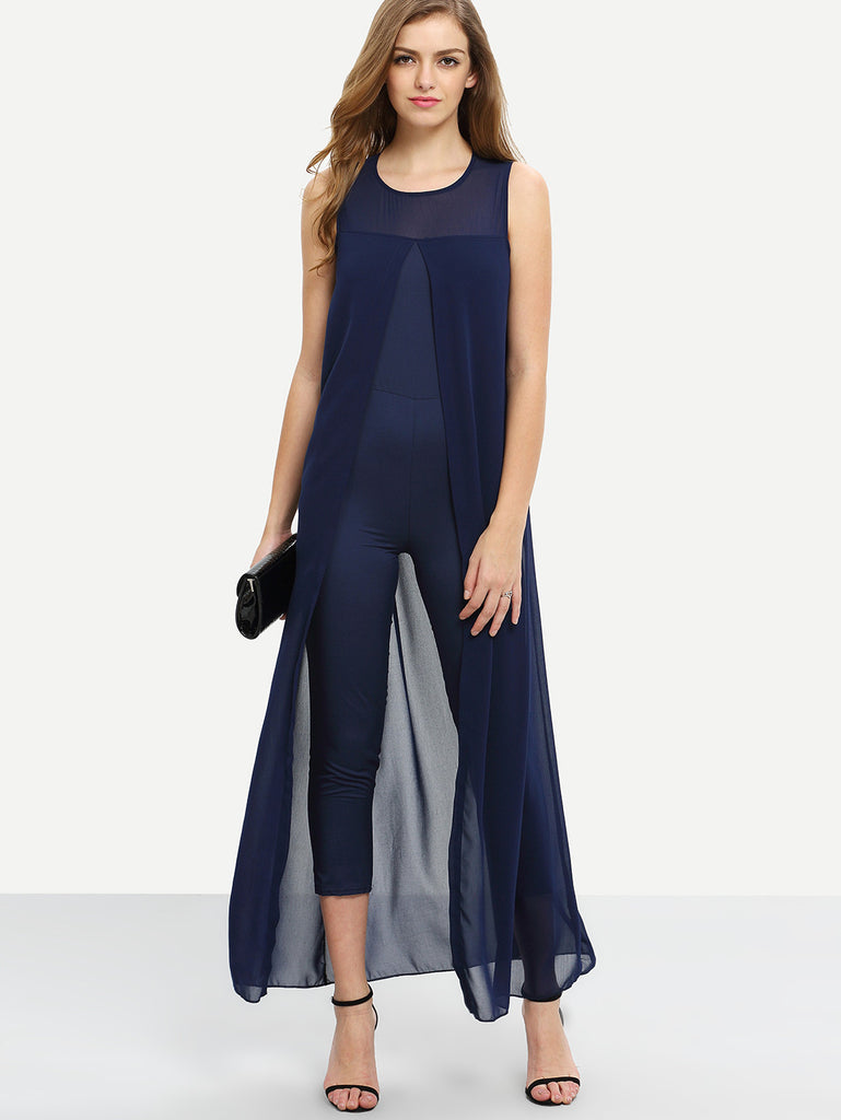 Chiffon Overlay Skinny Jumpsuit - Navy - The Style Syndrome  - 1
