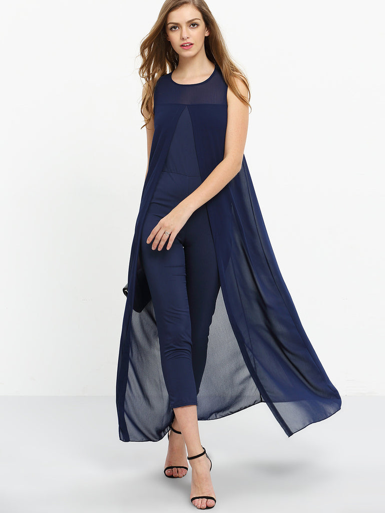 Chiffon Overlay Skinny Jumpsuit - Navy - The Style Syndrome  - 2