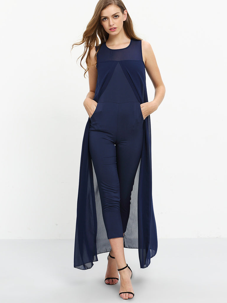 Chiffon Overlay Skinny Jumpsuit - Navy - The Style Syndrome  - 5